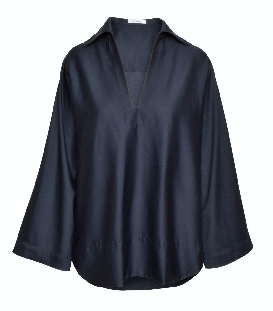 SOLUZIONE - Damen Bluse - Shirt - Marine