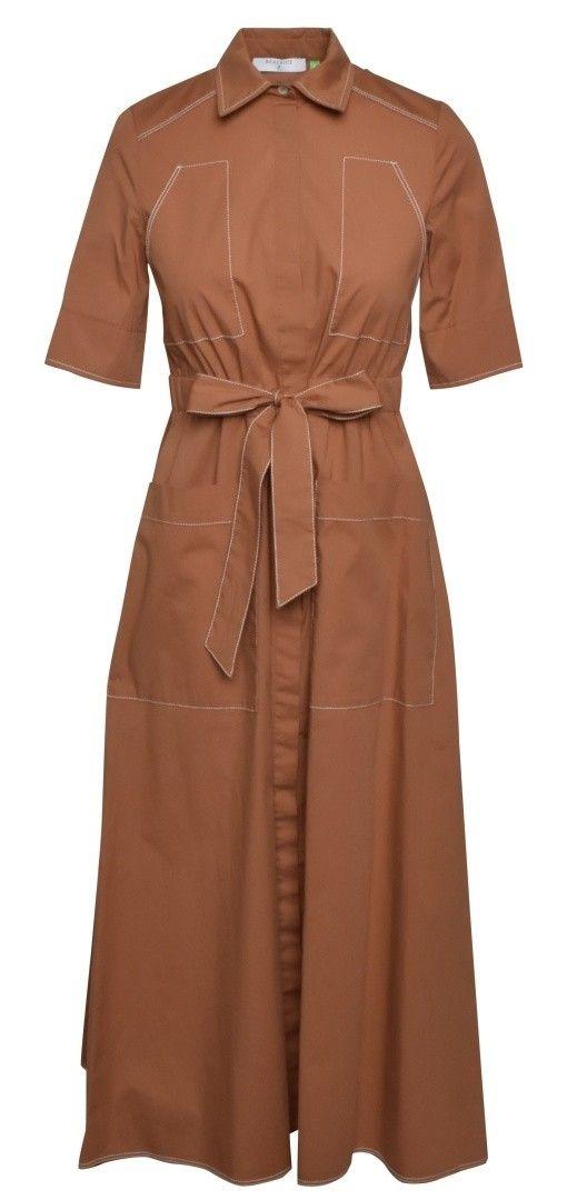 BEATRICE.B - Damen Kleid - Baumwollkleid mit Stickerei - Camel