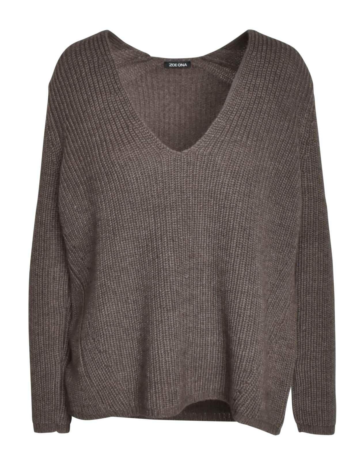 ZOE ONA - Damen Pullover - V-Neck Grobstrick - Taupe