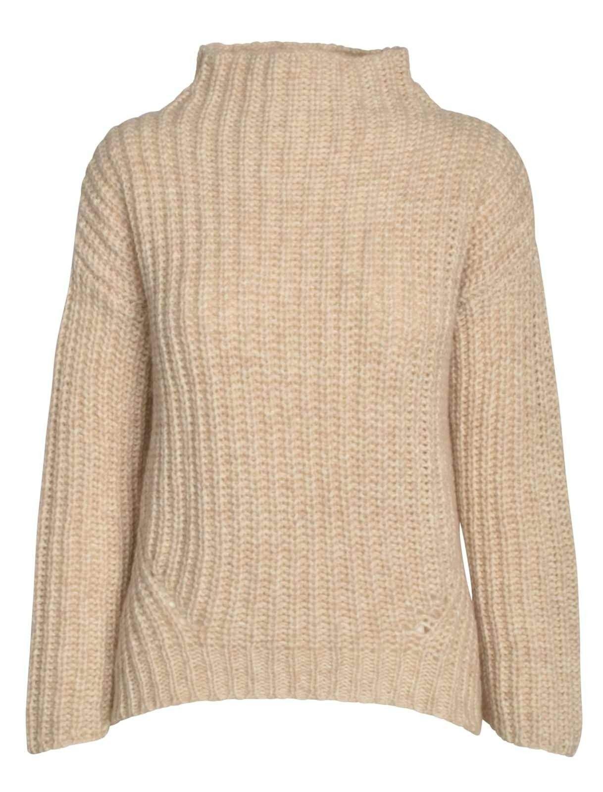 ZOE ONA - Damen Pullover - Grobstrick High Neck - Light Beige