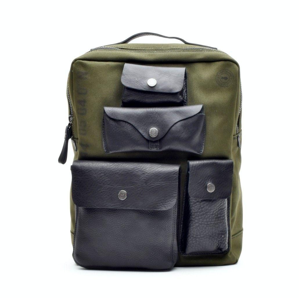 CAMPOMAGGI - Herren Rucksack - Backpack Large Canvas - Military/Black