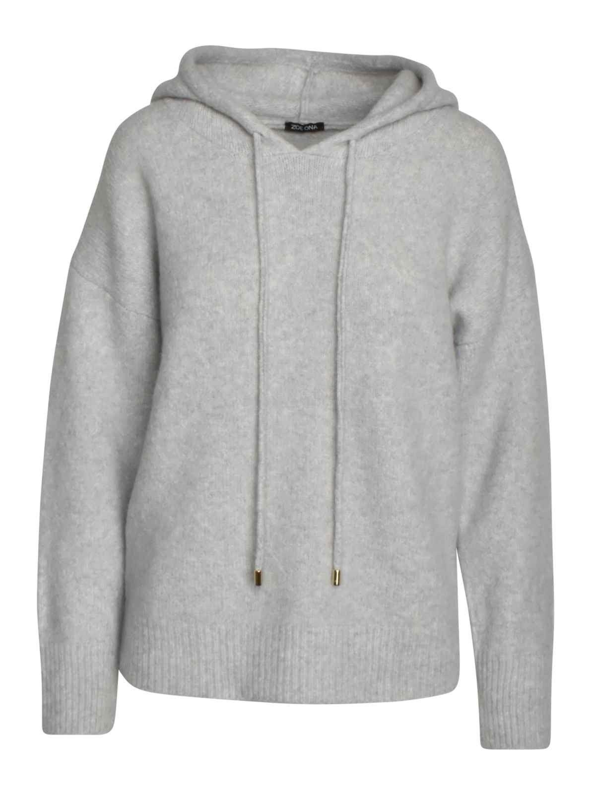 ZOE ONA - Damen Sweater - Kapuzen Sweater - Light Grey