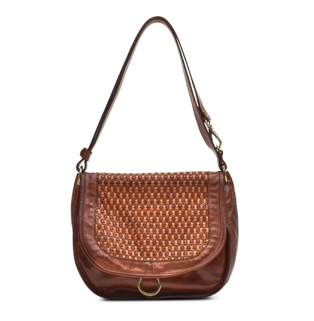 CAMPOMAGGI - Damen Handtasche - Shoulder Bag Large Honeycomb - Cognac