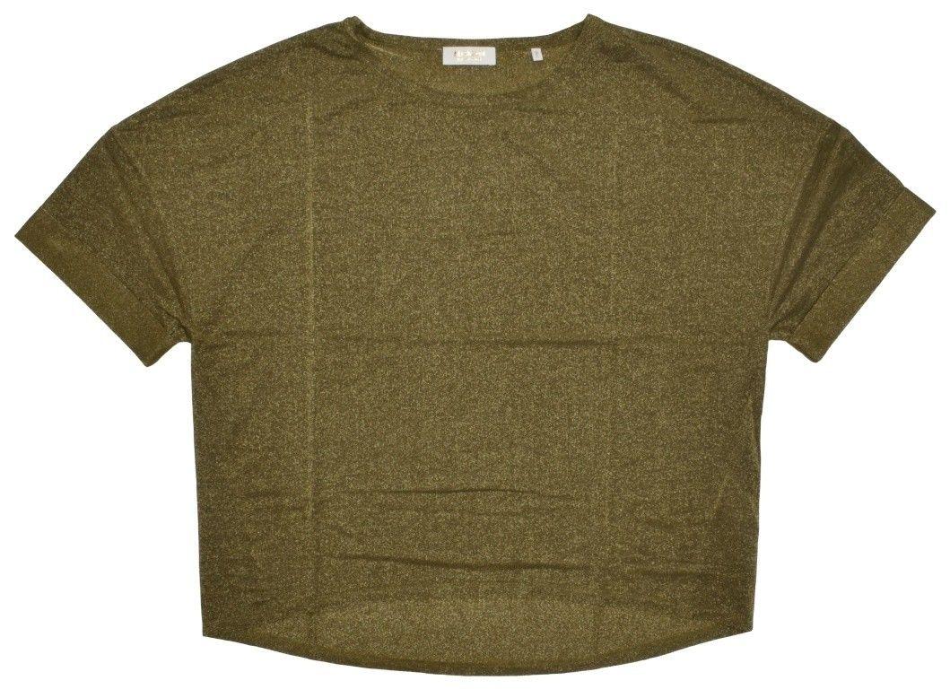 RICH & ROYAL - Damen T-Shirt - Lurex Shirt - Safari Green