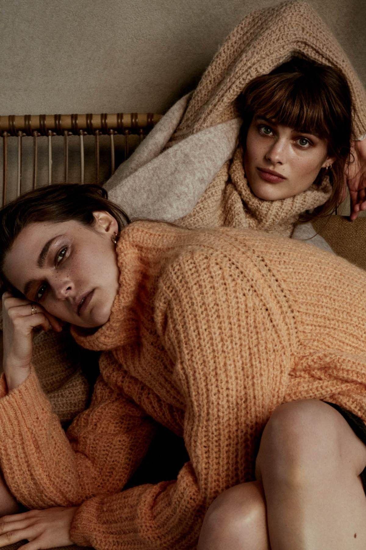 PENN&INK - Damen Pullover - Coll Neck - Orange