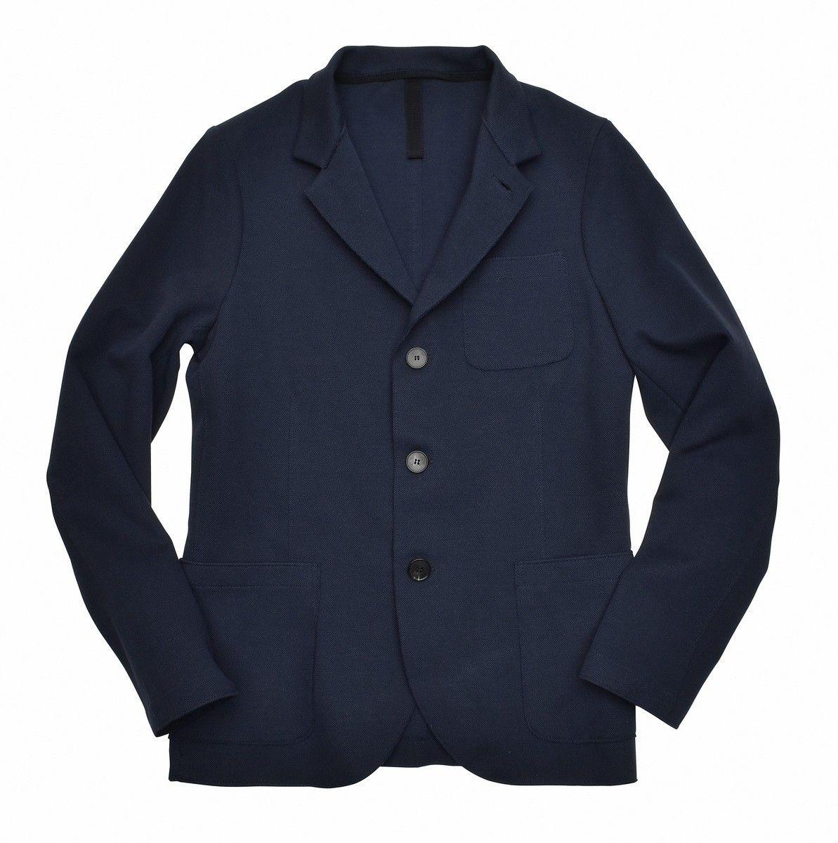 HARRIS WHARF LONDON- Herren Sakko -  Mens Standing Collar Blazer Piquet - Navy Blue