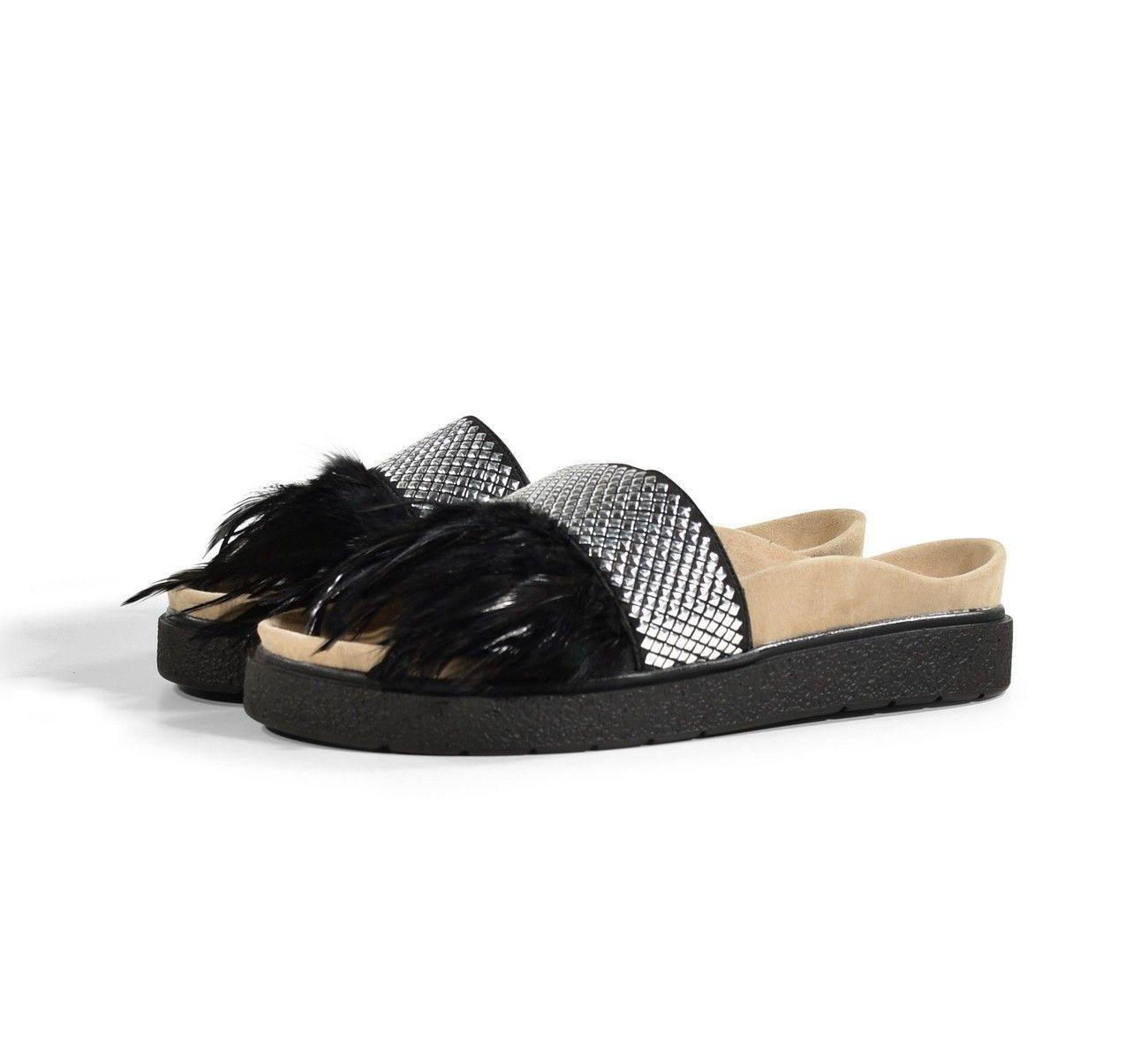 INUIKII - Damen Pantolette - Sandal - Feathers Black