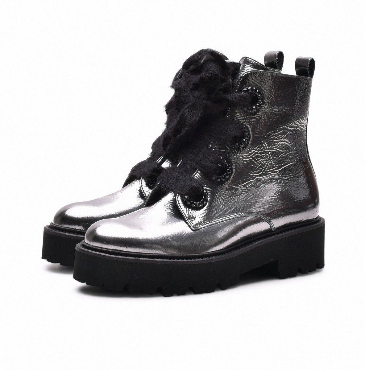 KENNEL & SCHMENGER - Damen Boot Bobby Patent - Antracite Metallic