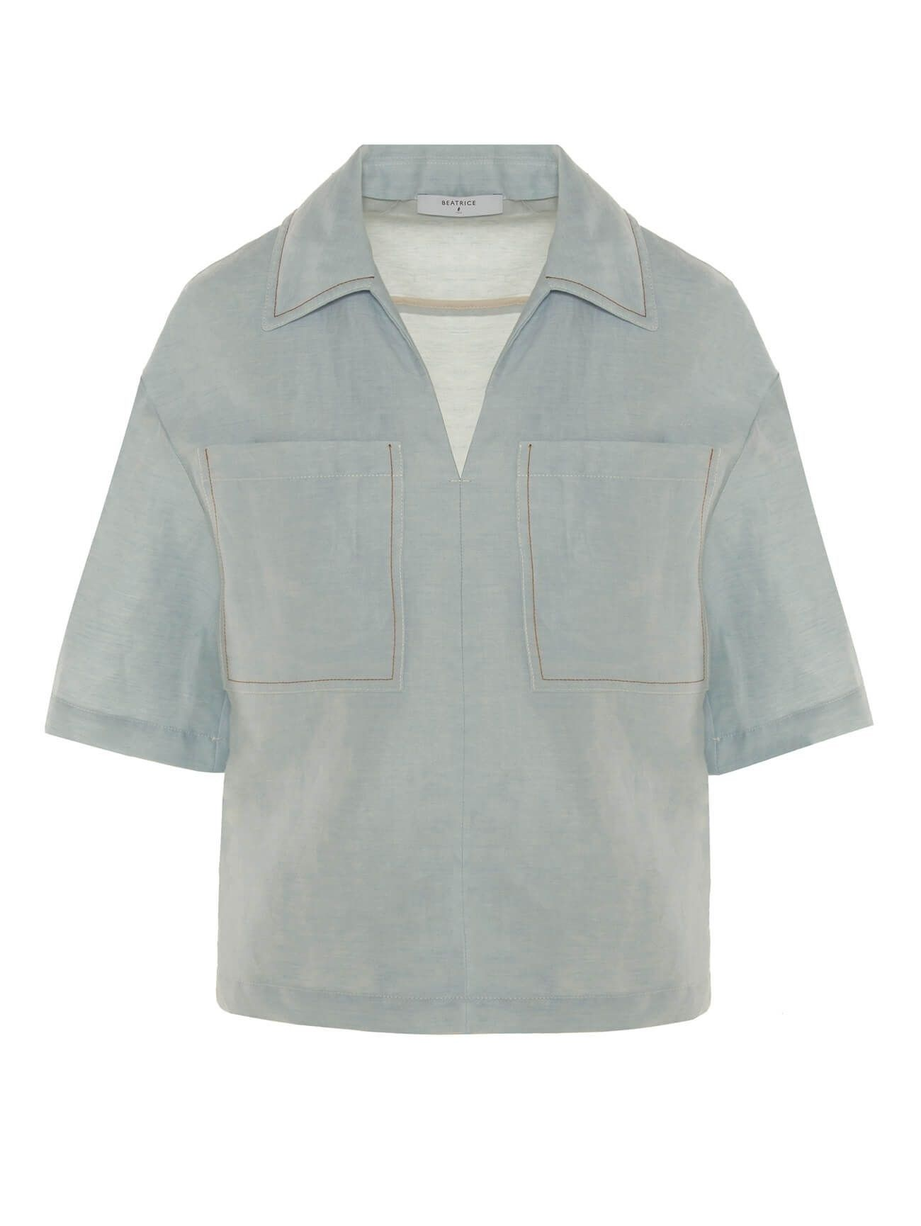 BEATRICE.B - Damen Hemd - Camicia Tessuto - Azzurro