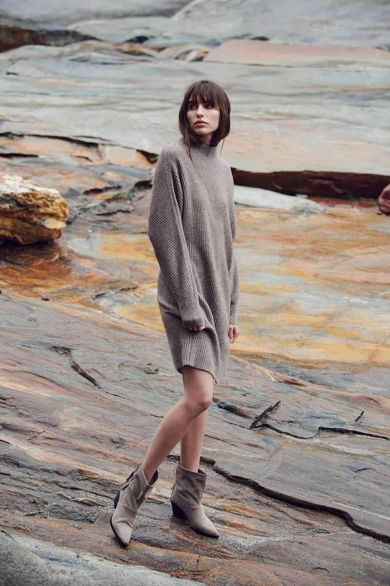 PRINCESS - Damen Boxy Dress Structure - Brown Stone