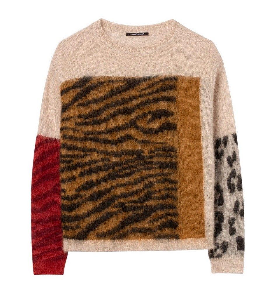LUISA CERANO - Damen Pullover - Mohair-Pulli mit Mustermix - Soft Beige / Walnut