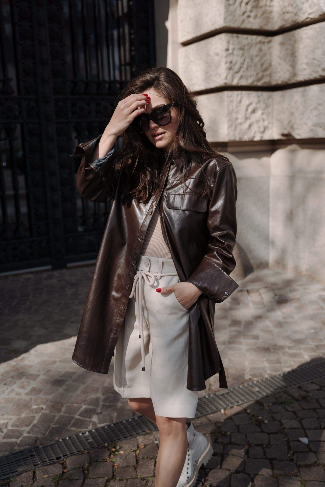 LUISA CERANO - Damen Hemdjacke - Leder Optik-Coffee Brown