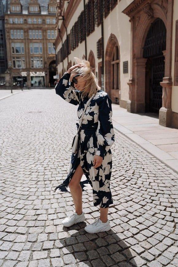 LUISA CERANO - Damen Kleid - Hemdkleid mit Flower-Print - Ink / White