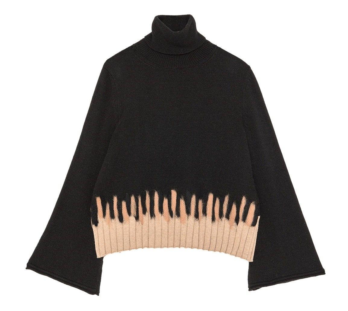 OTTOD'AME - Damen Pullover - Maglia Shirt - Nero/Beige