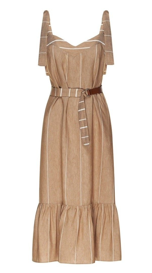 BEATRICE B. - Damen Kleid - Midi Leinen Kleid - Camel