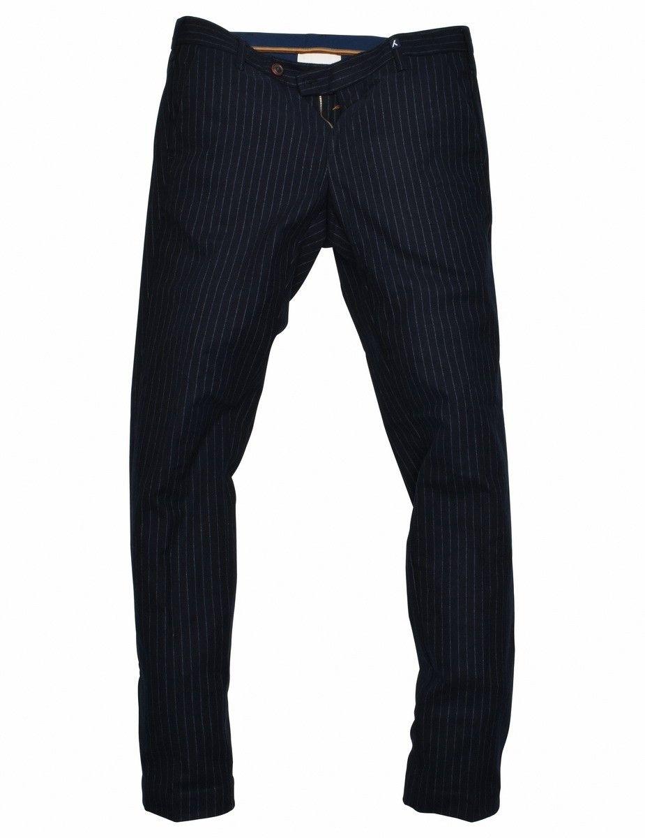 MYTHS - Herren Stoffhose - Pantalone Veluso Pinstripe - Navy