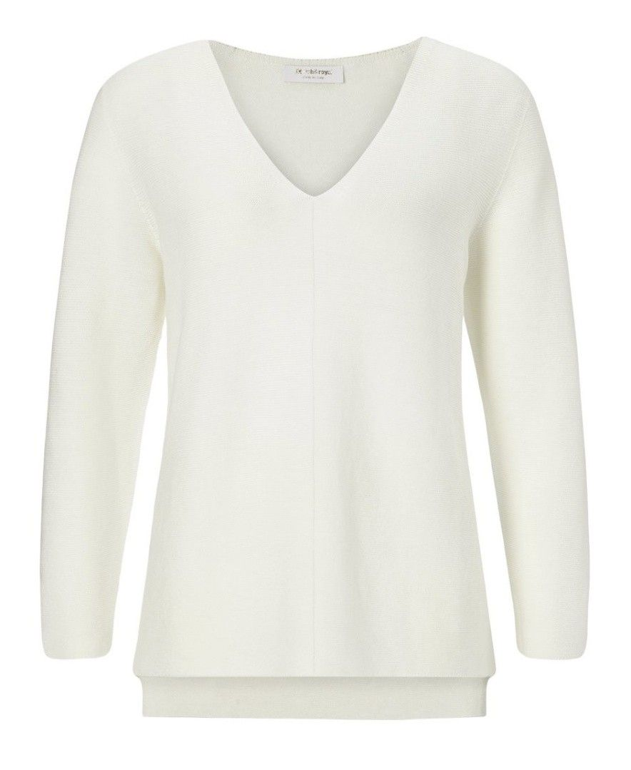 RICH & ROYAL - Damen Pullover - V-Neck Pullover - Pearl White