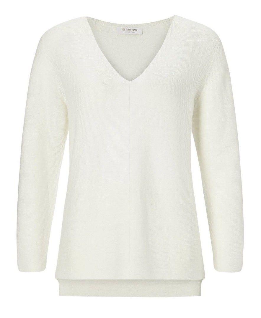 RICH & ROYAL - Damen Pullover - V-Neck Pullover - Pearl White
