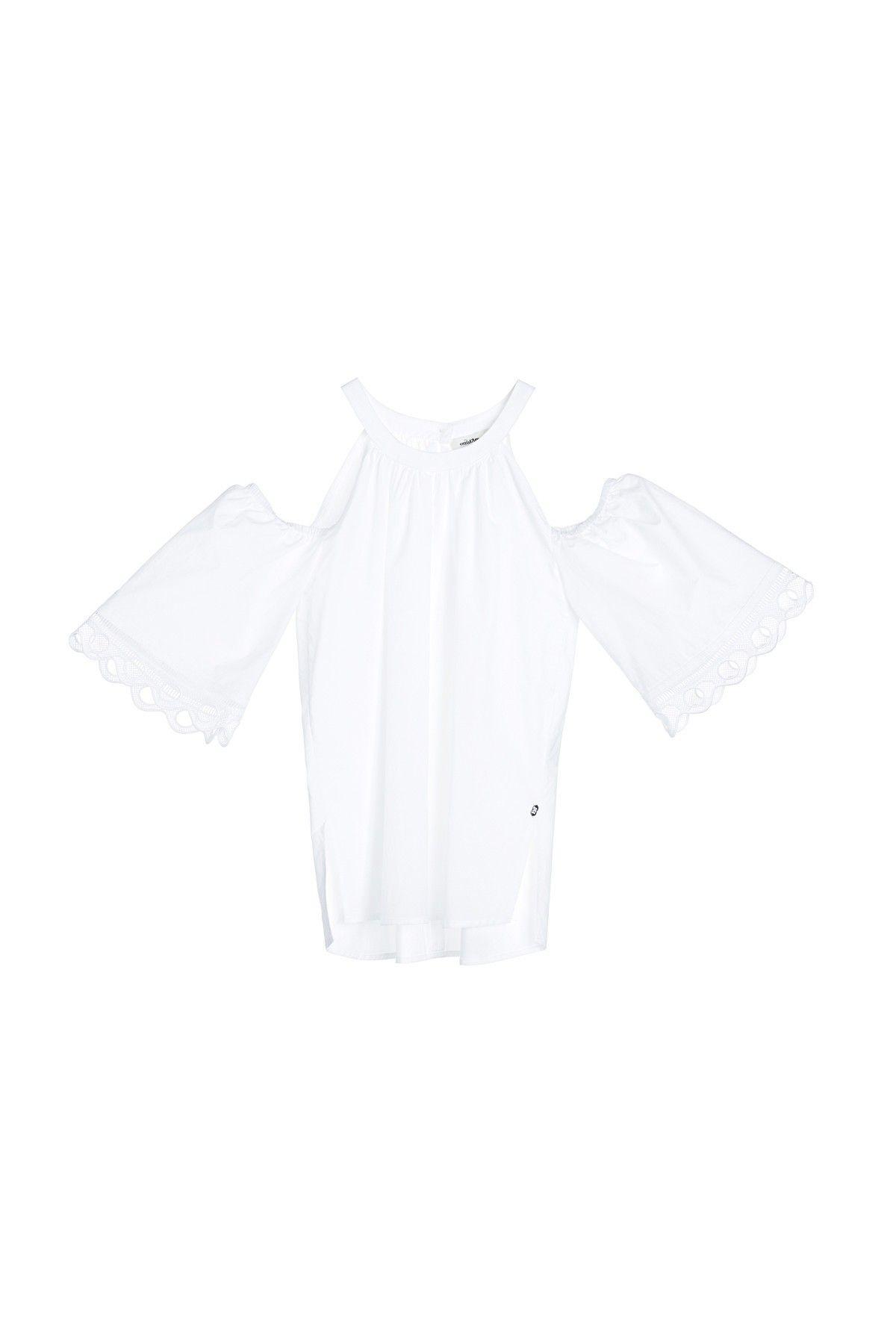 OTTOD'AME - Damen Bluse - Camicia Shirt - Bianco