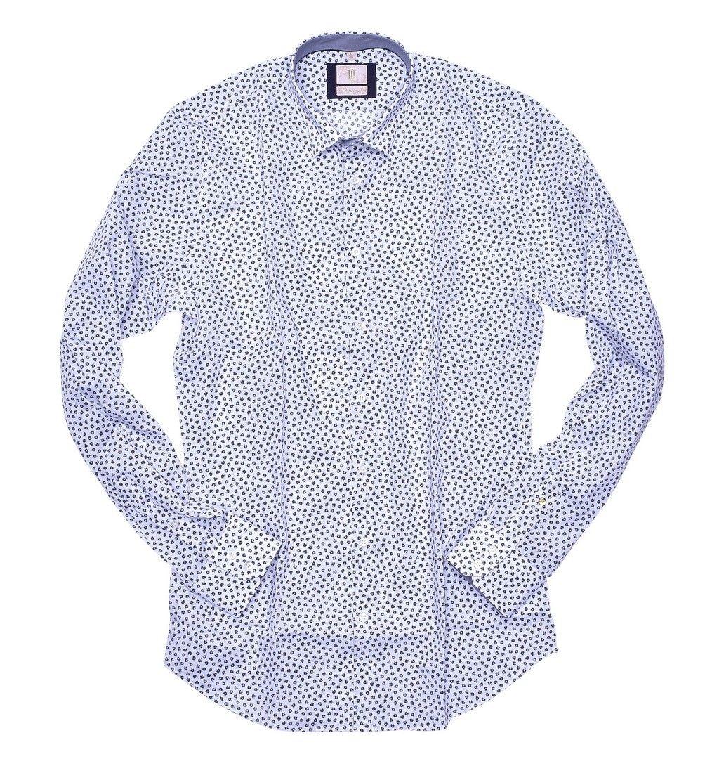 Q1 - Herrenhemd - Flower - Weiß Blau