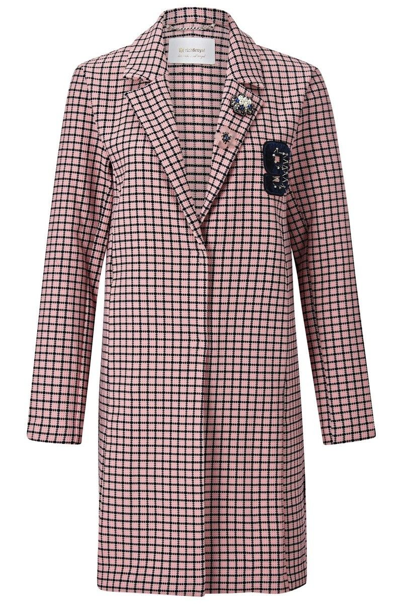 RICH & ROYAL - Damen Mantel - Coat Check with Patch Spring - Pink