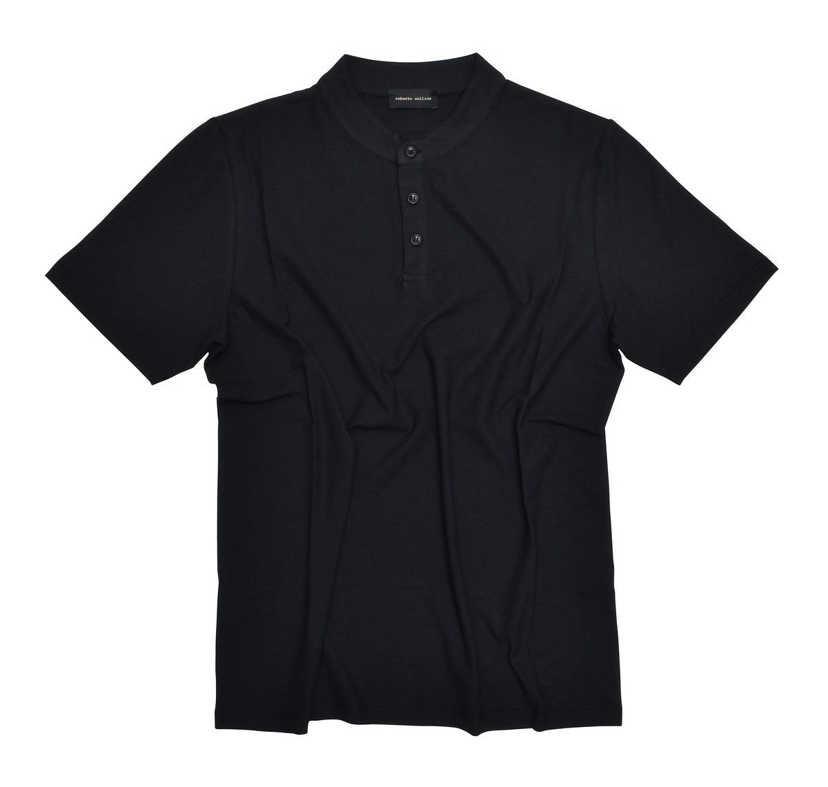 ROBERTO COLLINA - Herren T-Shirt - Serafino MC - Nero