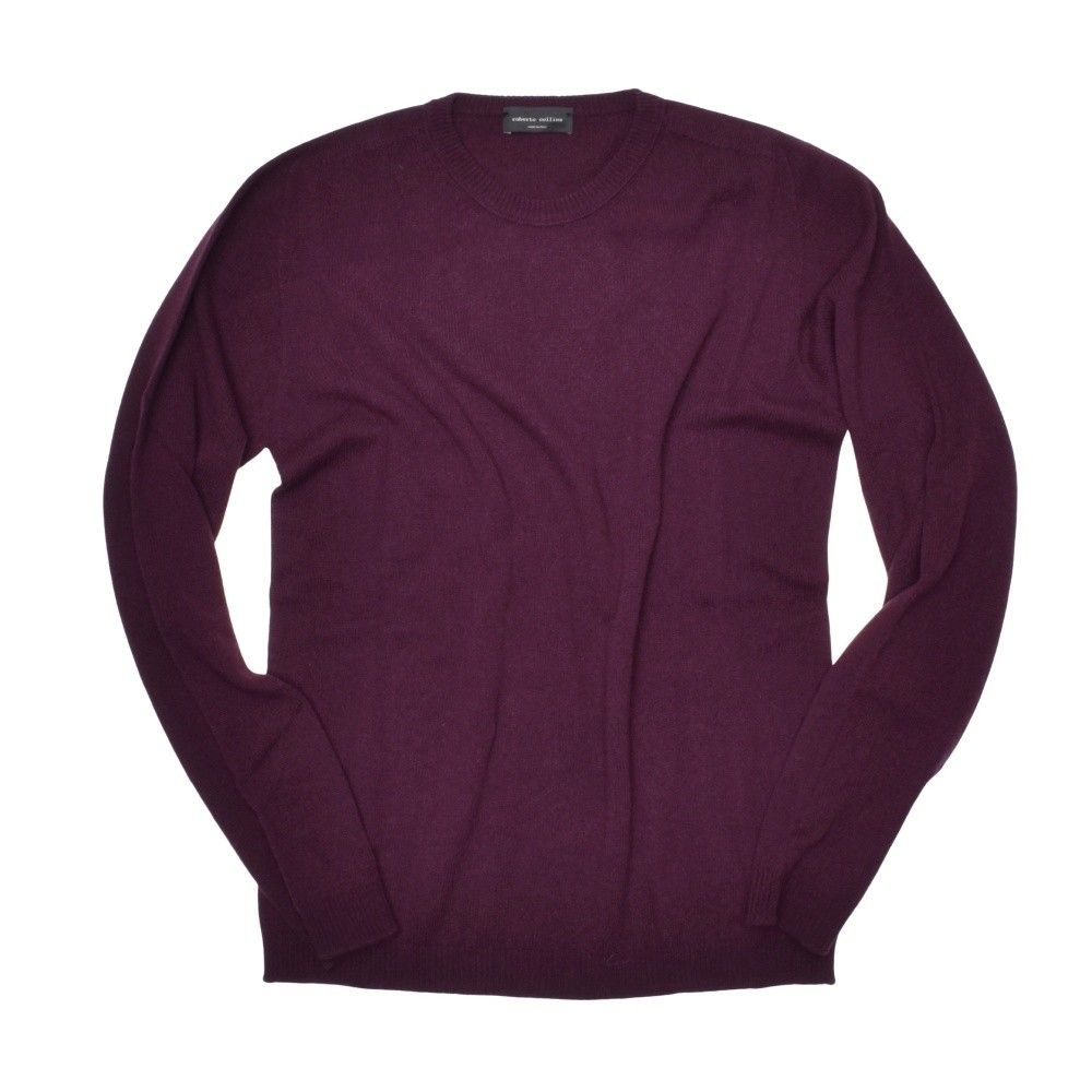 ROBERTO COLLINA - Herren Pullover - Roundneck Sweater - Bordeaux