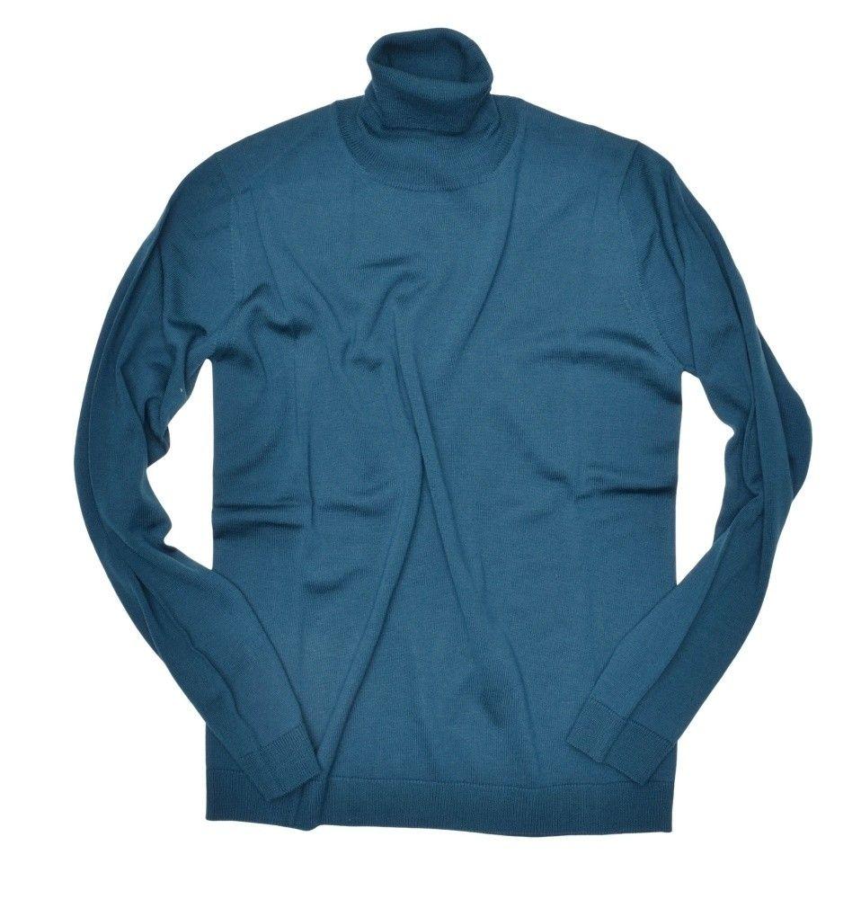 ROBERTO COLLINA - Herren Pullover - Turtle Neck Sweater - Pavone