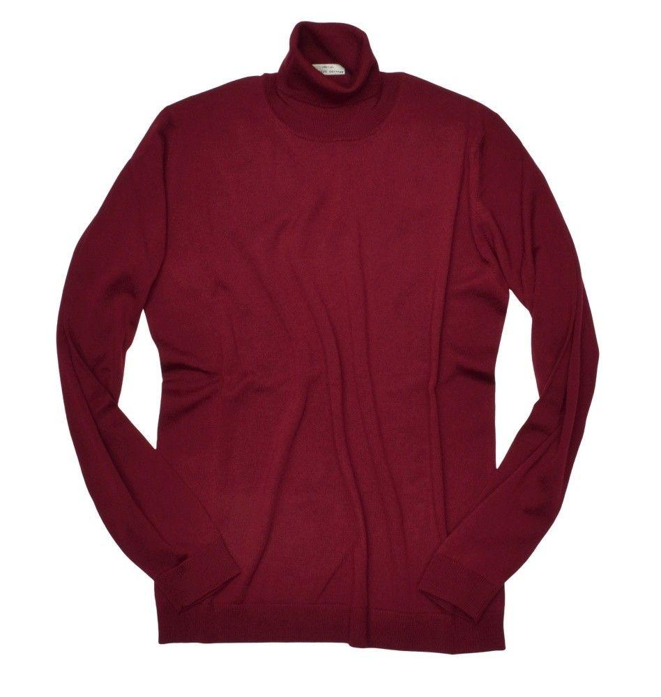 ROBERTO COLLINA - Herren Pullover - Turtle Neck Sweater - Bordeaux