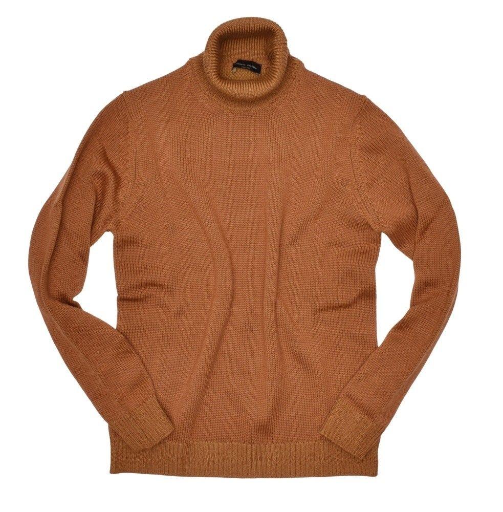 ROBERTO COLLINA - Herren Pullover - Turtle Neck Sweater - Cognac Senf