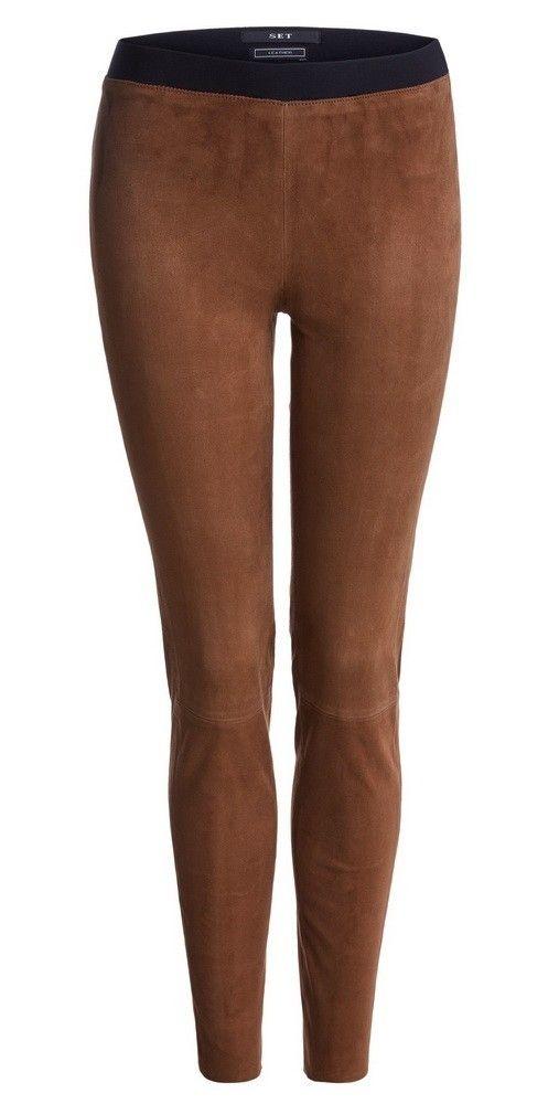 SET - Damen Hose - Lederleggings - Braun