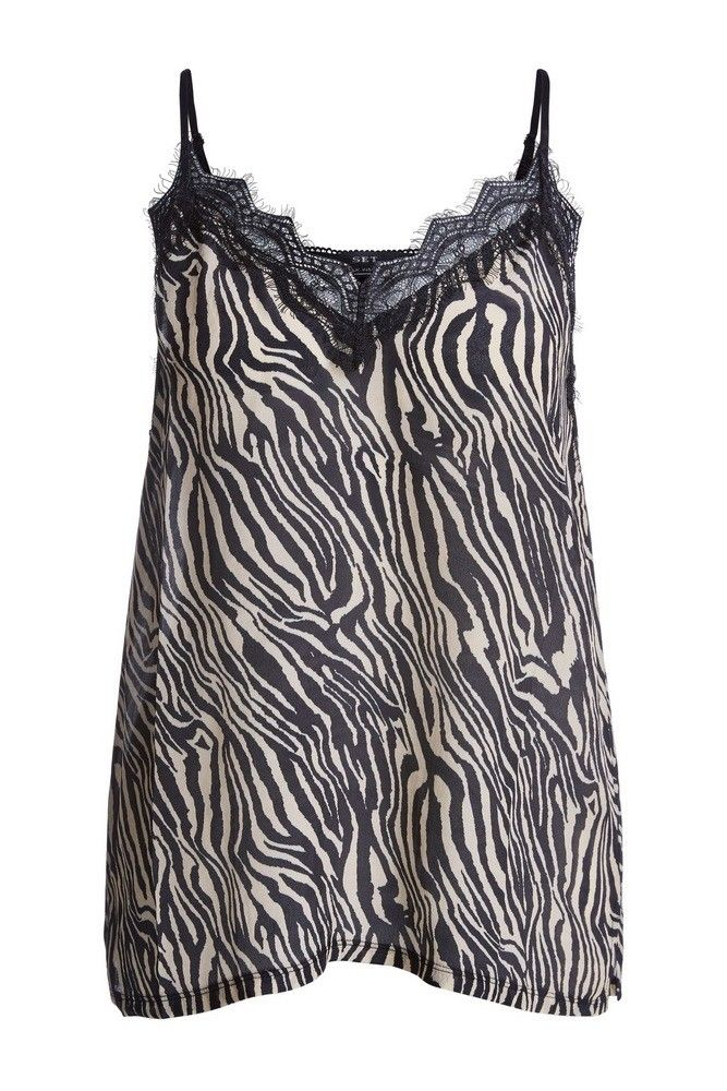 SET - Damen Top - TankTop Zebra Print - Schwarz/Weiß