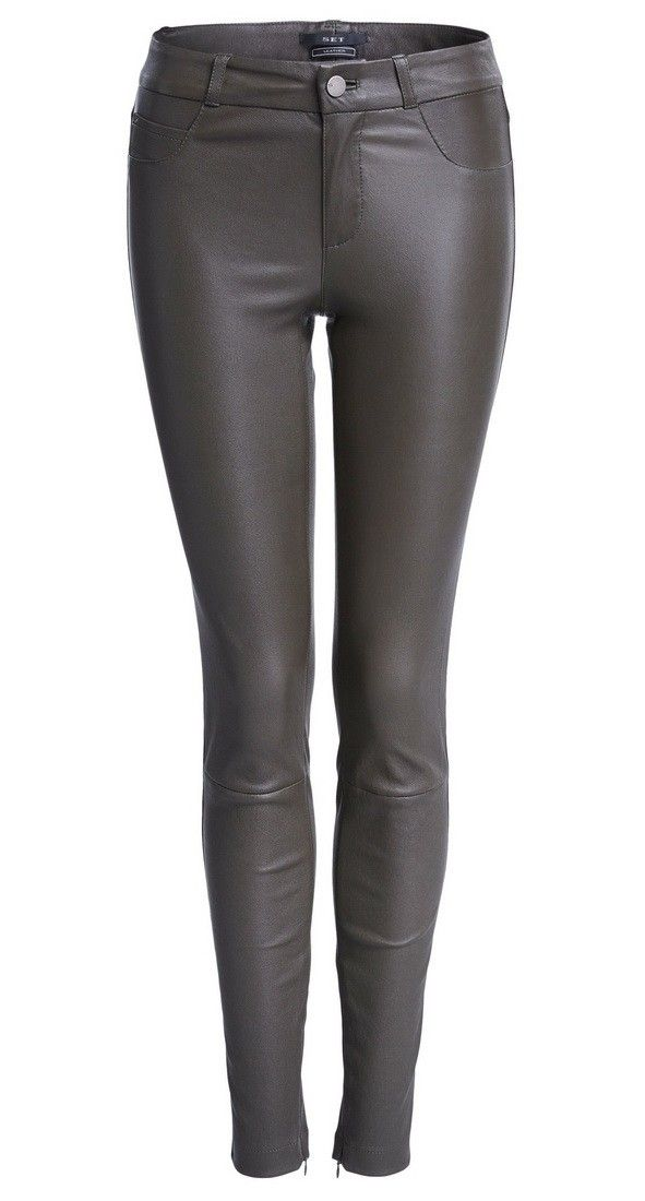 SET - Damen Lederhose - Dakota Skinny Leather Trousers - Khaki