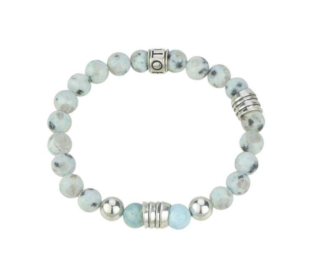 SHOTO STERLING - Armband - Silber (925) - Larimar (AAA) - Blauer Granit