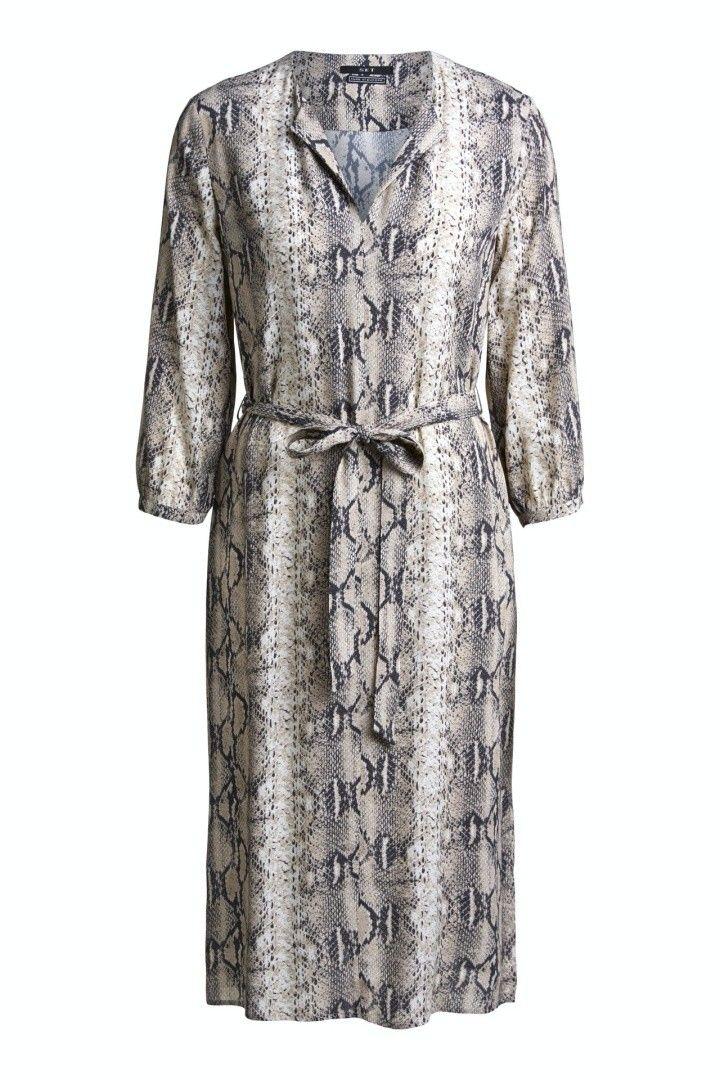 SET - Damen Kleid - Midikleid mit Schlangenprint - Stone Grey