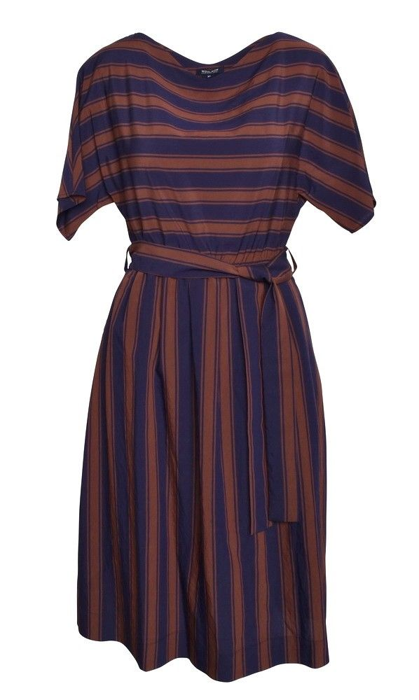 WOOLRICH - Damen Kleid - Stripes - Farmer Blue/Braun