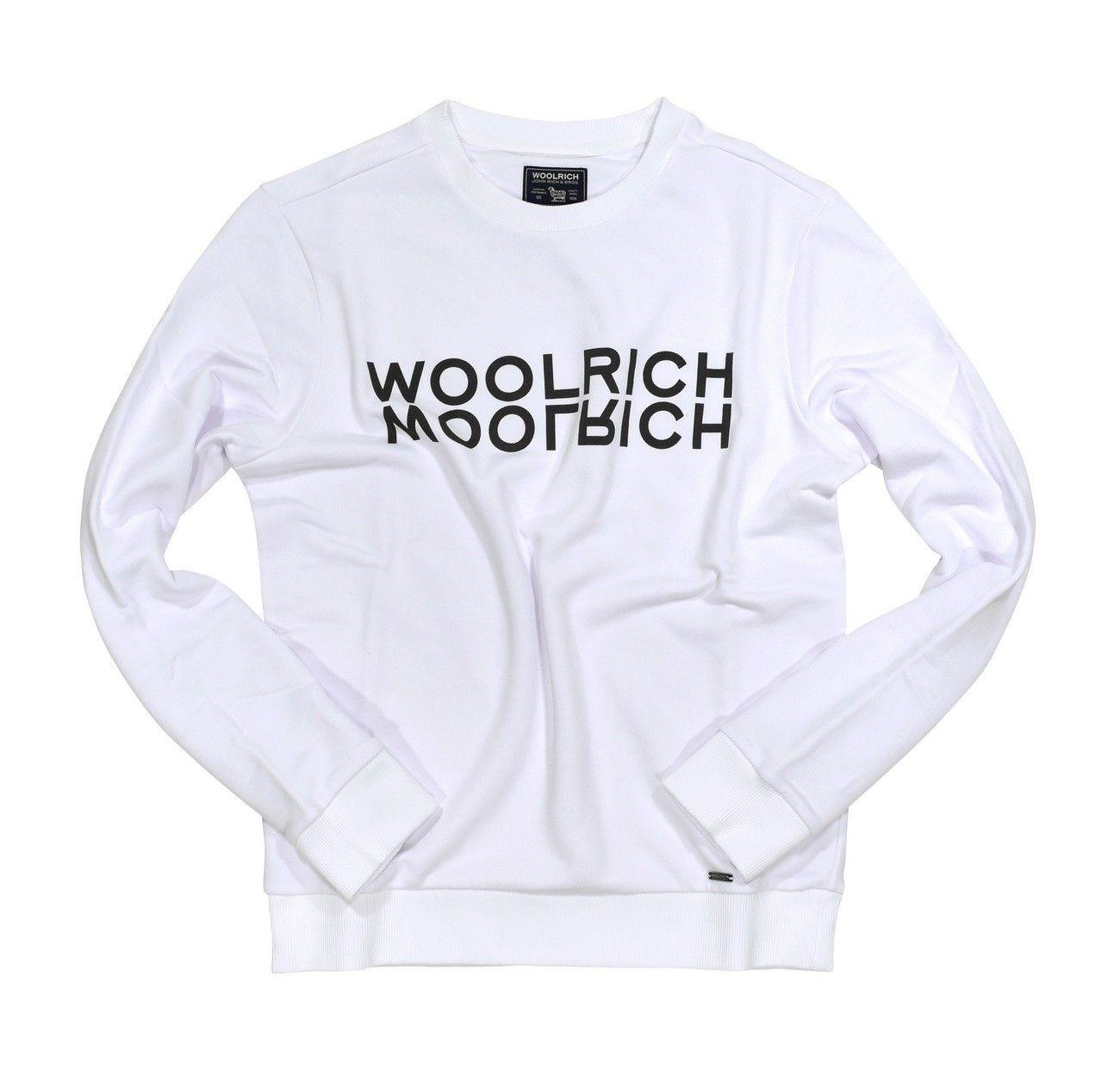 WOOLRICH - Herren Pullover - Luxury Logo Crew Neck - Optic White