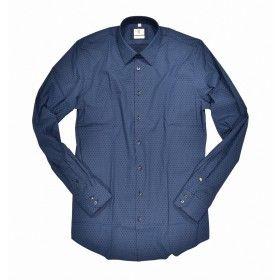 Q1 - Herren Hemd - Hemd Slim Fit - Dunkelblau Muster