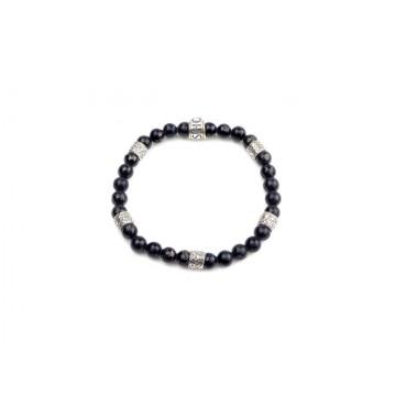 SHOTO STERLING - Armband - Silber(925) - Black Jet(Gagat)