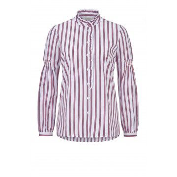 RICH & ROYAL - Bluse - Striped Blouse White Ruffles - Flame Red