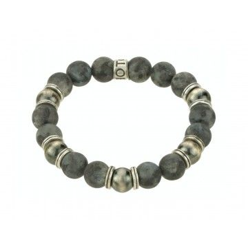 SHOTO STERLING - Armband - Sterling Silber - Navajo Beads - Larvkit-Labradorit matt