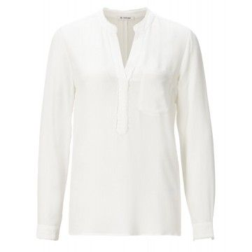 RICH & ROYAL - Damen Bluse - Blouse with Fringes - Pearl White
