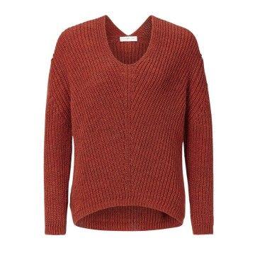 RICH & ROYAL - Damen Pullover - V-Neck - Rusty Red