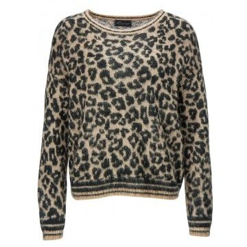 PRINCESS - Damen Pullover - Pullover with Leo Jacquard - Camel