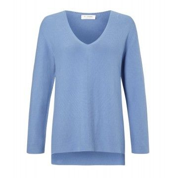 RICH & ROYAL - Damen Pullover - V-Neck Pullover - Spring Blue