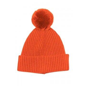 PRINCESS - Damen Mütze Basic Hat with Pompom - Spicy Orange