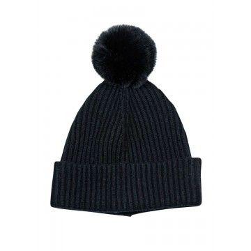 PRINCESS - Damen Mütze Basic Hat with Pompom - Nero