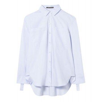 LUISA CERANO - Damen Bluse - Hemdbluse mit Ärmel Details - Light Blue