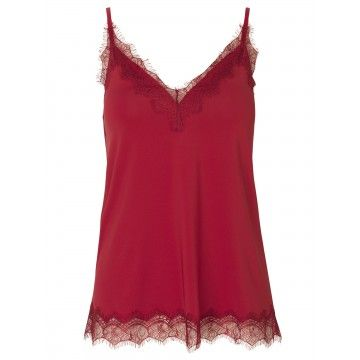 ROSEMUNDE - Damen Shirt - Strap Top - Deep Red