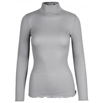 ROSEMUNDE - Damen Top - Silk T-Shirt Roller Neck - Light Grey